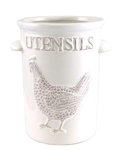 Farmhouse Rooster Kitchen Utensil Ceramic Holder