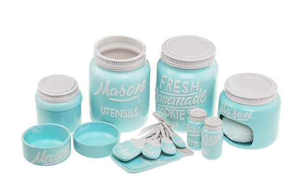 Blue Ceramic Kitchen Mason Jars - 7-Piece Vintage Kitchenware Set - Measuring Cups, Measuring Spoons, Spoon Rest, Salt & Pepper Shakers, Sponge Holder, Cookie Jar, and Utensil Crock by Goodscious