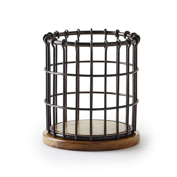 Pfaltzgraff Anvil Cage Wire And Acacia Wood Utensil Holder, Black