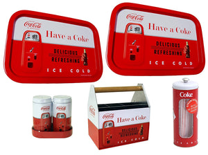 Retro Coca-Cola Utensil Holder, Salt and Pepper Shaker, 2 Serving Trays & Straw Holder Set