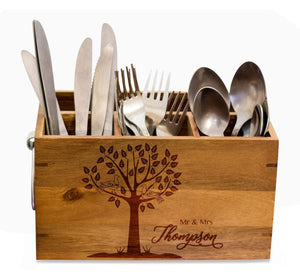 Wedding Silverware Caddy, kitchen Utensil Holder,Personalize Kitchen Stuff, Picnic Caddy,kitchen tool holder, housewarming Gift, custom