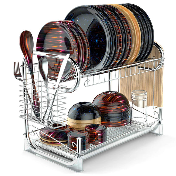 Dish Drying Rack, Packism Upgraded 2 Tier Dish Rack with Drain Board Thickened Dish Drainer For Kitchen Counter Large Capacity with Cutlery Basket Cutting Board Holder, Silver