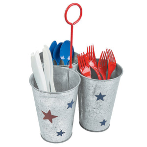 Fun Express Patriotic Americana Utensil Holder -Perfect for a Patriotic Picnic Table or Cookout