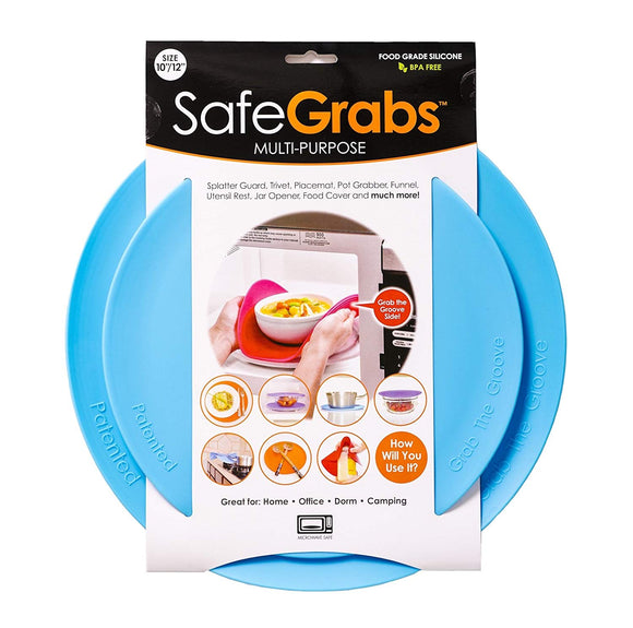 Safe Grabs Seen on Shark Tank: Multi-Purpose Silicone Microwave Mat, BPA Free Kitchen Tool, Set of 2, Ocean Blue
