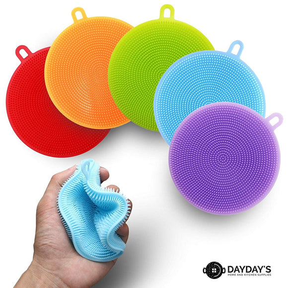 Silicone Kitchen Sponge 3, 5, or 10-Pack. Scrubber for Dishes is Food Grade Antibacterial for Easy Cleaning. Multipurpose as Heat Resistant Pot Holder, Cleans Make-Up Brushes. Non-Stick, Easy Clean