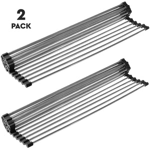 "Over the Sink Multipurpose Roll-Up Dish Drying Rack (21""(L) x 16""(W) Black - 2 Pack)"