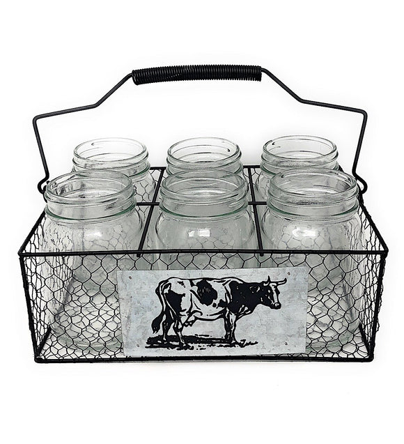 Basket Utensil Organizer Holder Farmhouse Flatware Caddy 6 Mason Jar Food Storage Indoor Outdoor Decor (Cow)