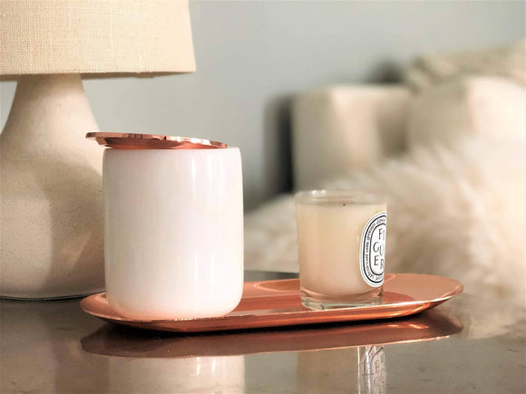 White Real Marble Jar with Rose Gold Lid & Tray | Small Vanity Jar for Bathroom Storage, Make-up Brushes, Q-tips, Pens, Flowers, Trinkets, Keys | Metal Lid, Round Shape Container | Bathroom Cup