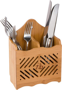"6"" Bamboo Flatware Utensil Organizer and Holder by Trademark Innovations"