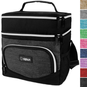 OPUX Dual Compartment Lunch Bag, Insulated Lunch Box for Men, Women | Double Deck Leakproof Lunch Tote Cooler for Work, Office, School | Soft Reusable Lunch Pail (Charcoal)