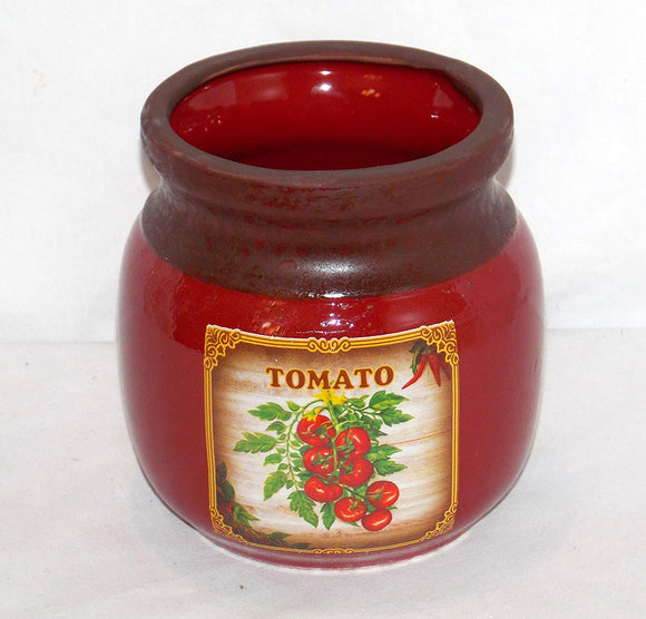 NEW BURNT RED COLOR TOMATO VINE KITCHEN UTENSIL HOLDER HERB POT VINTAGE LOOK