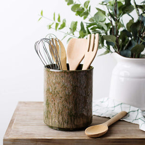 Ceramic Utensil Crock Utensil Holder, (Green)