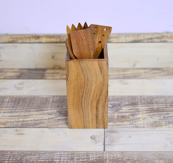 Rusticity Wooden Kitchen Utensil Set of 5 with Holder, Caddy organizer | Acacia Wood | Handmade | (8.6 x 4.2 in)