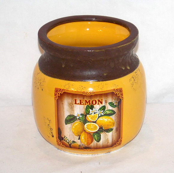 NEW YELLOW COLOR MYERS LEMONS LEMON KITCHEN UTENSIL HOLDER HERB POT VINTAGE LOOK