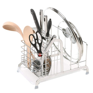 Stainless Steel Dish Drying Rack, Pot Lid & Utensil Holder with Draining Tray
