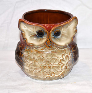 "New 5"" Chubby Big Eyed Owl Burnt Red & Tan Colored Utensil Holder / Pen Pot / Planter Pot"