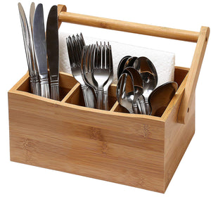 Ybm Home & Kitchen Bamboo 4 Compartment Utensil Flatware Cutlery Caddy Holder with Handle 336