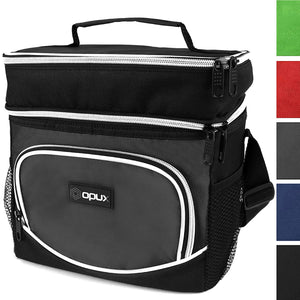OPUX Insulated Dual Compartment Lunch Bag for Men, Women | Double Deck Reusable Lunch Tote Cooler Bag with Shoulder Strap, Soft Leakproof Liner | Medium Lunch Box for Work, Office (Gray)