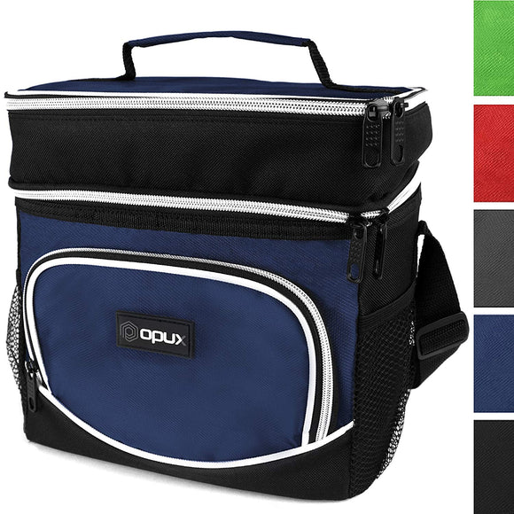 OPUX Insulated Dual Compartment Lunch Bag for Men, Women | Double Deck Reusable Lunch Tote Cooler Bag with Shoulder Strap, Soft Leakproof Liner | Medium Lunch Box for Work, Office (Navy)