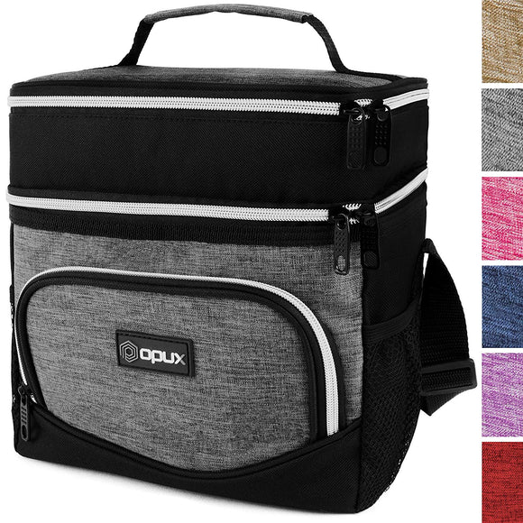 OPUX Dual Compartment Lunch Bag, Insulated Lunch Box for Men, Women | Double Deck Leakproof Lunch Tote Cooler for Work, Office, School | Soft Reusable Lunch Pail (Heather Grey)