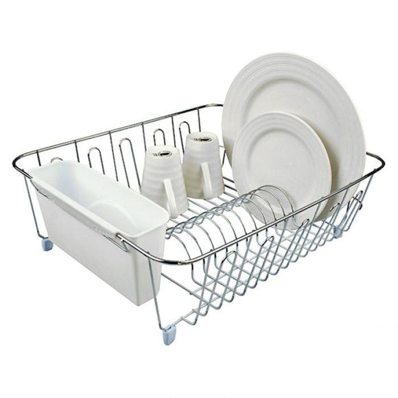 D-Line Chrome Plated Dish Rack Large White