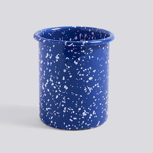 Utensil Holder - Enamel - White Speckles on Blue
