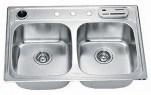 "33"" Double Bowl Topmount 20 Gauge Stainless Steel Kitchen Sink"