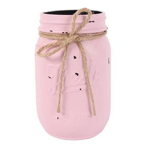 Small Distressed Glass Jam Jar Pastel Pink