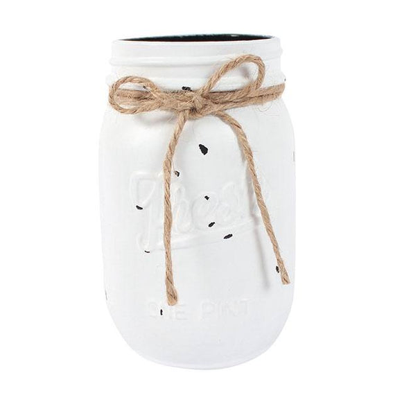 Small Distressed Glass Jam Jar White Lace
