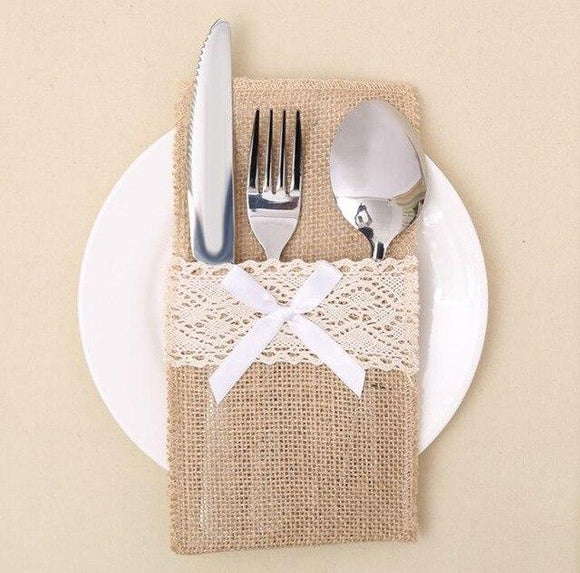 Natural Burlap Utensil Holders for Knifes Forks Bag Cutlery Pouch for Tablesettings