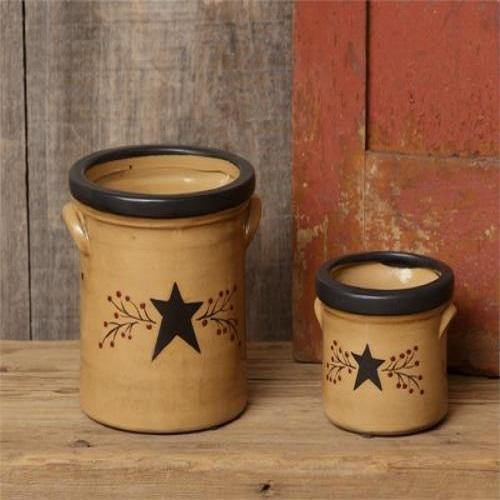 Country Primitive Black Star Berry Vine Crocks