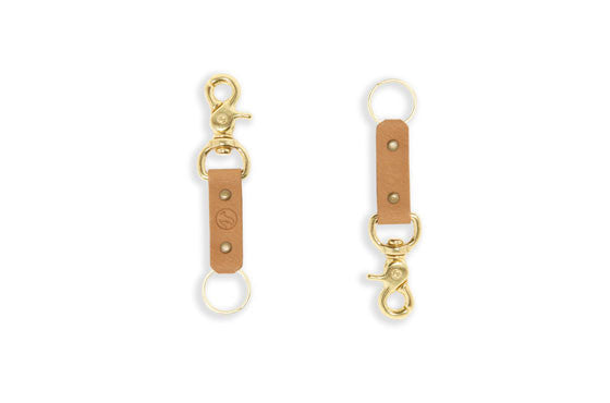 Colorful Leather & Brass Keyring
