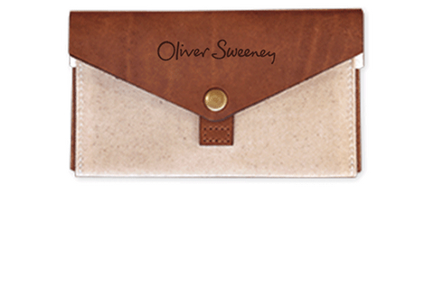 Branded Leather & Canvas Phone Clutch