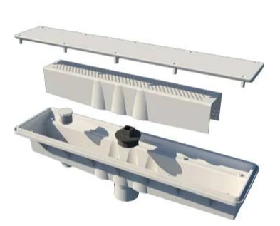 A&A Manufacturing Concrete Single Suction w/ Hydrostatic Relief AVSC Channel Drain Standard Top Gray - 571858