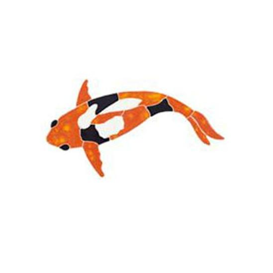 Artistry In Mosaics Garden Line Small Orange Koi Fish Mosaic Tile-Aqua Supercenter Outlet - Discount Swimming Pool Supplies