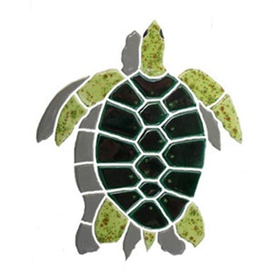 Artistry In Mosaics Shadow Line Baby Green Turtle Shadow Mosaic Tile-Aqua Supercenter Outlet - Discount Swimming Pool Supplies