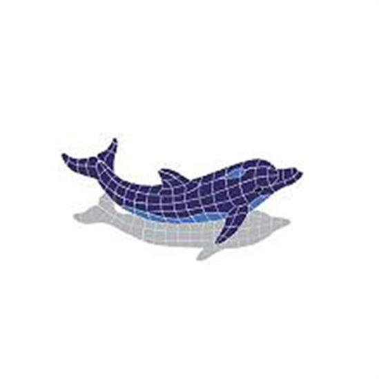 Artistry In Mosaics Shadow Line Blue Dolphin Jumping Shadow Mosaic Tile - Medium-Aqua Supercenter Outlet - Discount Swimming Pool Supplies