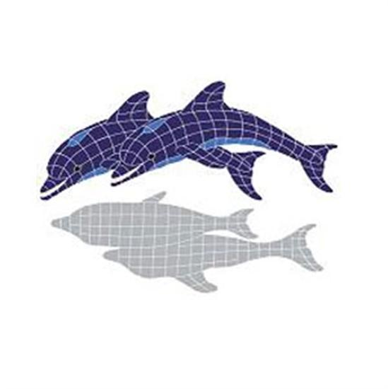 Artistry In Mosaics Shadow Line Blue Twin Dolphin Shadow Mosaic Tile - Large-Aqua Supercenter Outlet - Discount Swimming Pool Supplies