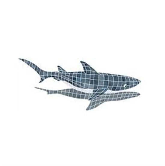 Artistry In Mosaics Shadow Line Gray Shark Shadow Mosaic Tile - Large-Aqua Supercenter Outlet - Discount Swimming Pool Supplies