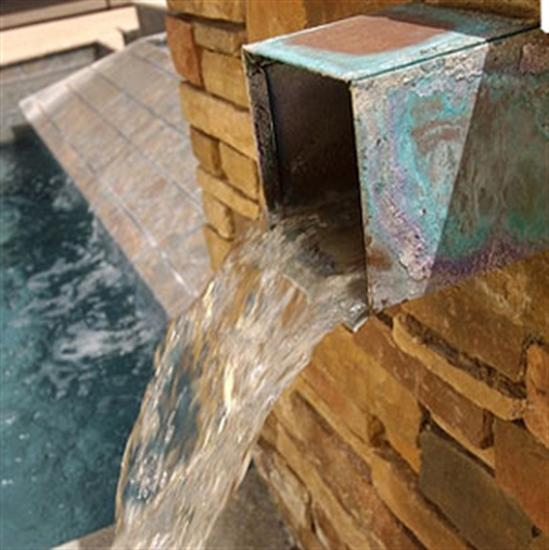 "Bobe 4"" x 8"" Rectangular Box Copper Scupper-Aqua Supercenter Outlet - Discount Swimming Pool Supplies"