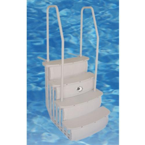 "Hercules 36"" Easy Entry ABG Step Taupe - Dual Handrail-Aqua Supercenter Outlet - Discount Swimming Pool Supplies"