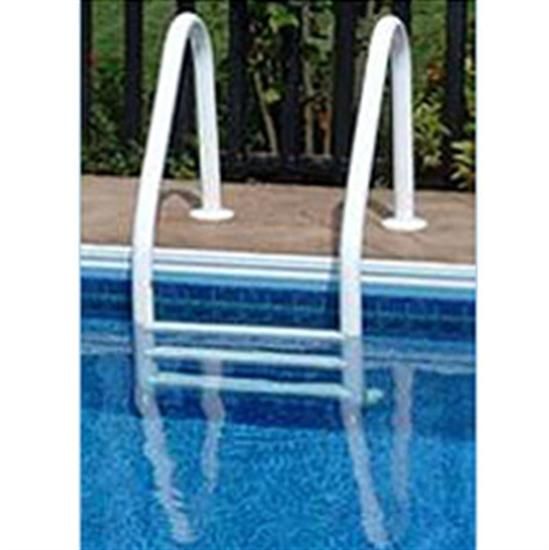 Saftron 3 Step In Ground Polymer Ladder - White-Aqua Supercenter Outlet - Discount Swimming Pool Supplies
