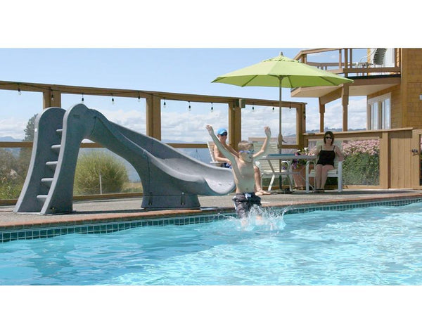 SR Smith Cyclone In Ground Pool Slide Right Turn in Gray Granite-Aqua Supercenter Outlet - Discount Swimming Pool Supplies
