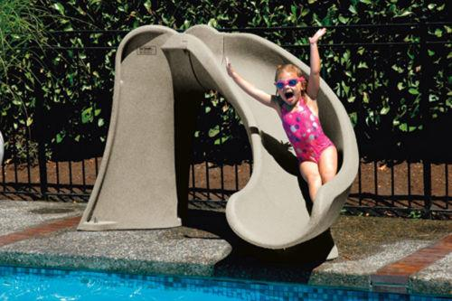 SR Smith Cyclone In Ground Pool Slide Right Turn in Sandstone-Aqua Supercenter Outlet - Discount Swimming Pool Supplies