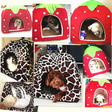 Load image into Gallery viewer, Warm Dog Bed (Leopard & Strawberry prints)
