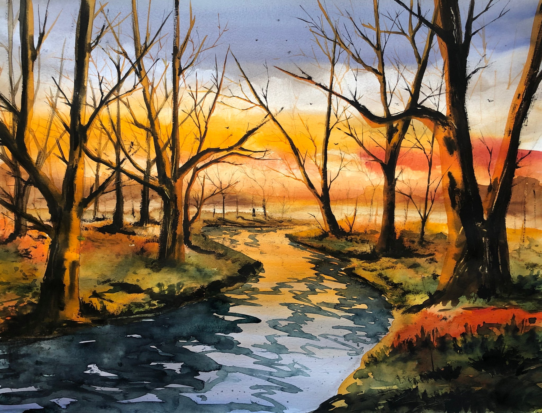 Autumn evening by the river watercolor painting