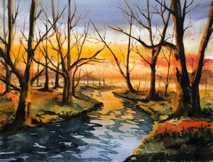 Autumn evening by the river watercolor painting - Continuum Watercolors