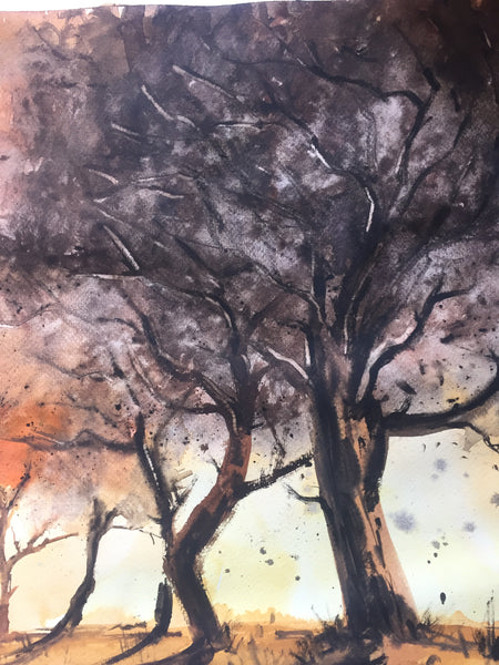 Trees Watercolor Painting