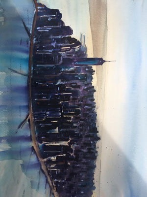 New York Skyline Watercolor painting - Continuum Watercolors