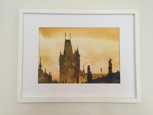 Sunset in Prague painting - Continuum Watercolors